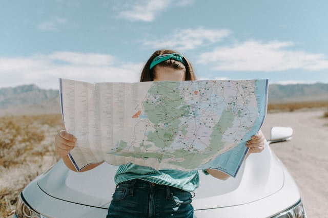 student navigating college map